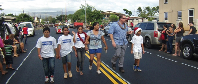 Bob and his family participate in the 2012 Ewa Christmas Parade.