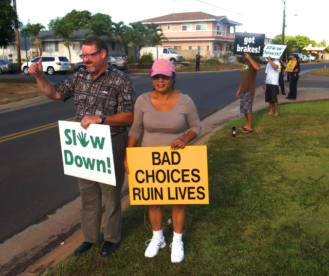 Bob and his wife, Utu, urge drivers to slow down